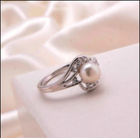 Pure 925 Silver Pearl Finger Wedding Rings For Ladies