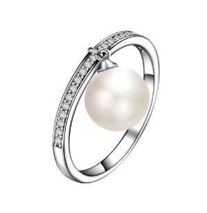925 Sterling Silver Round Shaped Freshwater Pearl Women Rings Jewelry