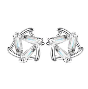 Baguette-cut Stone Star 925 Sterling Silver Stud Earring