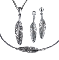 Wing Feather Plume Rhodium Plated Silver Charm Pendant Necklace Earring Bracelet Jewelry Set