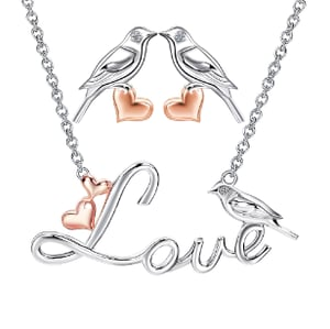 Kissing Love Birds Rhodium Plated Silver Necklace Earring Jewelry Set