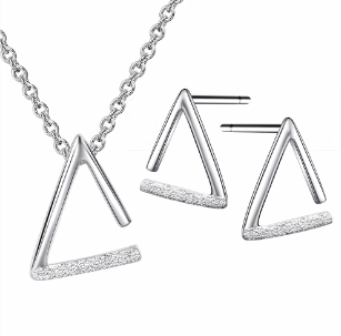 Opened Triangle Rhodium Plated Sandblasting Silver Charm Pendant Necklace Earring Jewelry Set