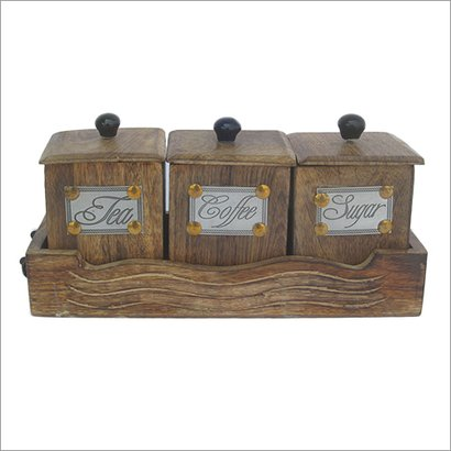 Polished Wooden Tea Coffee Sugar Container Set