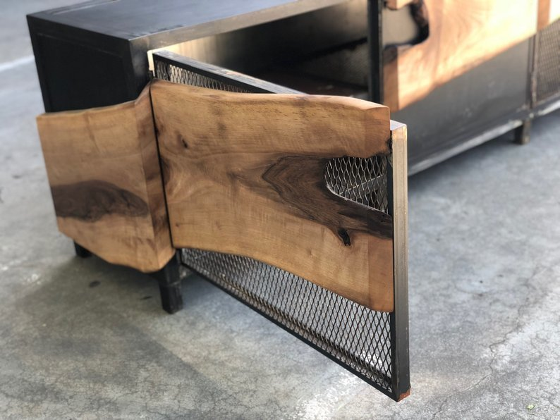 Industrial Steel & Live Edge Cabinet, Console, T.V. Unit