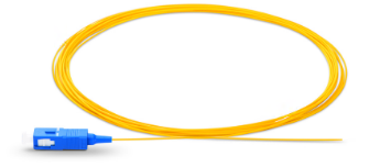 1m (3ft) SC UPC Simplex OS2 Single Mode PVC (OFNR) 0.9mm Fiber Optic Pigtail