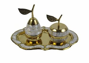 Brass Tray with Apple and Pear