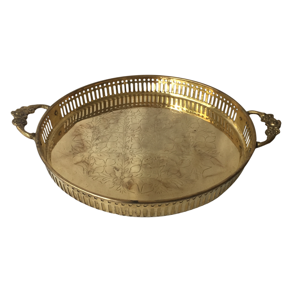 Brass Tray with Floral Handles
