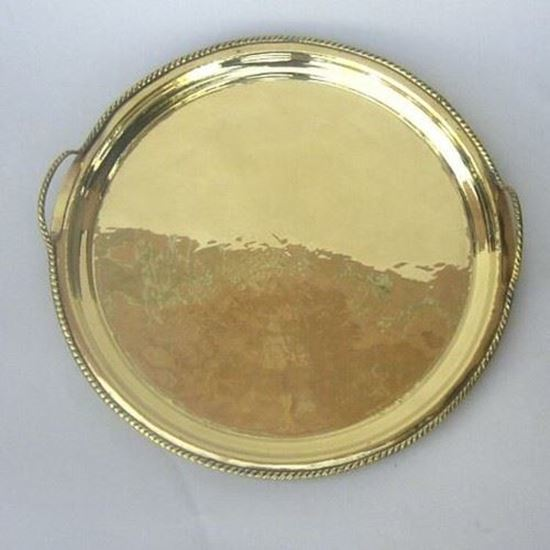 Brass Tray Two Handle Round