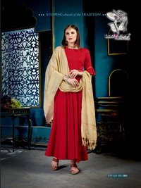 Designer Weaving Butti rayon Kurti with Dupatta