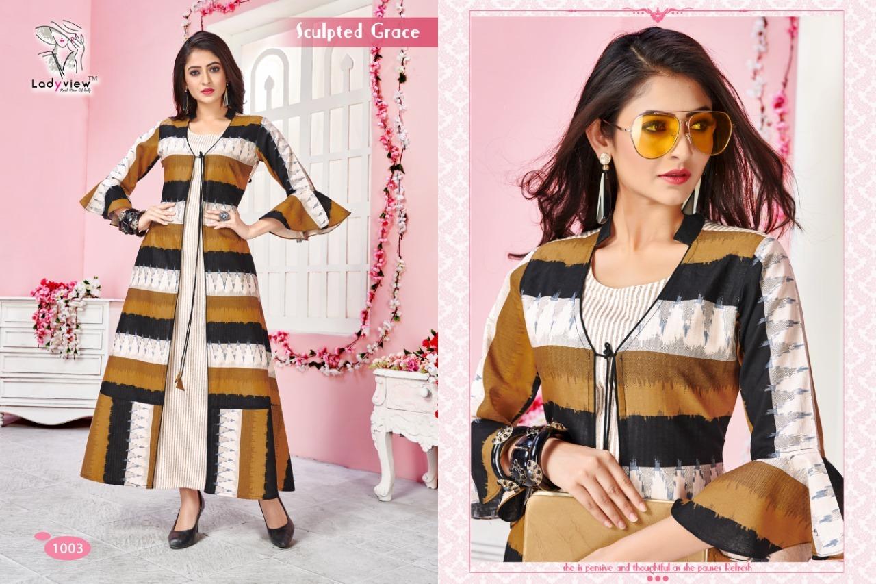 Designer Handloom Cotton Ikkat Long Kurti