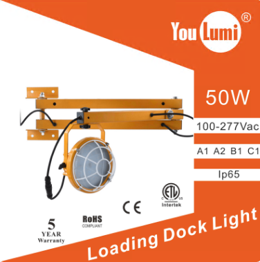 LED Loading Dock Light 50W Double Arms 120LM/W 360 °