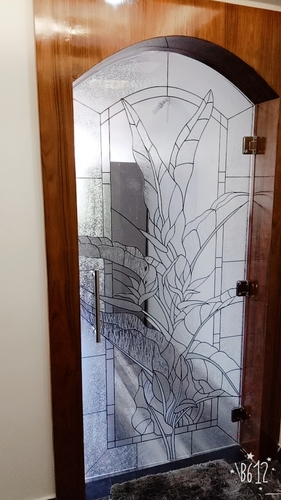 Wooden Entry Door Art Glass