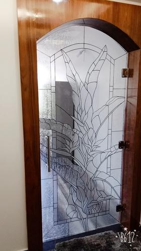 Wooden Entry Door Art Glass