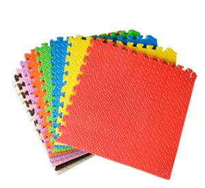 "EVA Foam Anti-Slip Foam Puzzle Floor Play Mat Kid's Multicolored Shapes Puzzle Play Mat Purple Color , 17"" x 17"" x 0.43"""