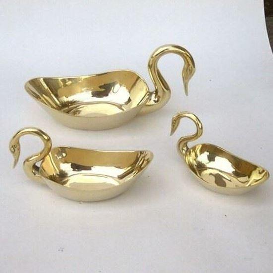 Brass Swan Dish Set