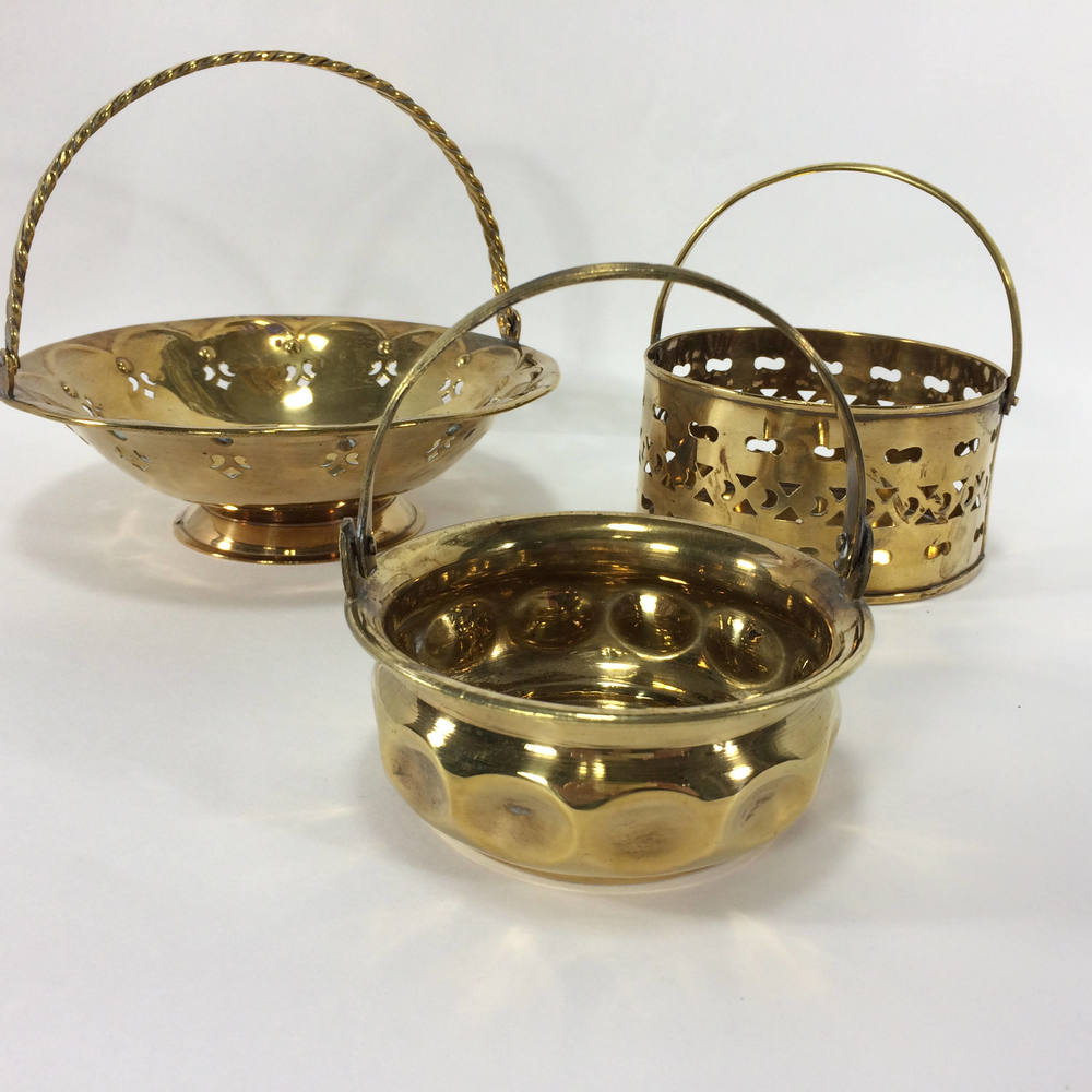 Brass Basket Set of 3