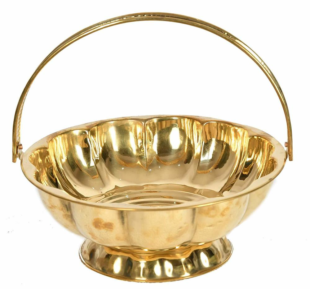 Brass Basket Pooja Flowers