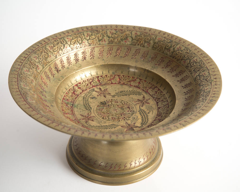 Brass Pedestal Enameled Bowl