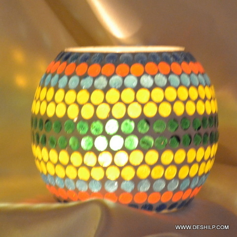 Mosaic Glass Candle Votive