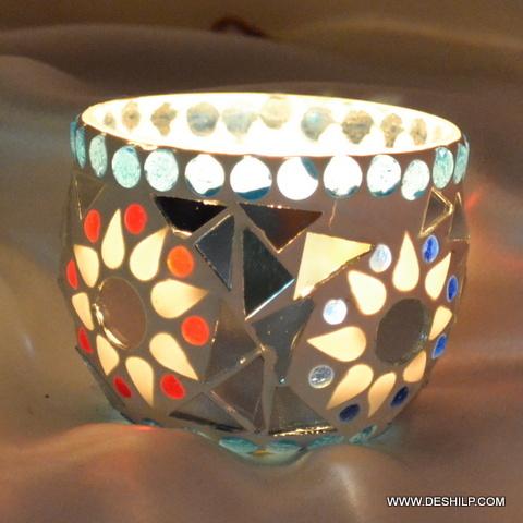 Small Mosaic Glass Votive