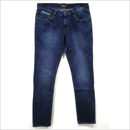 Mens Blue Plain Jeans