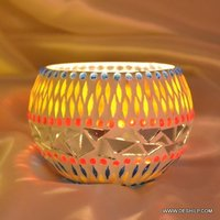 Multi Mosaic Glass Votive