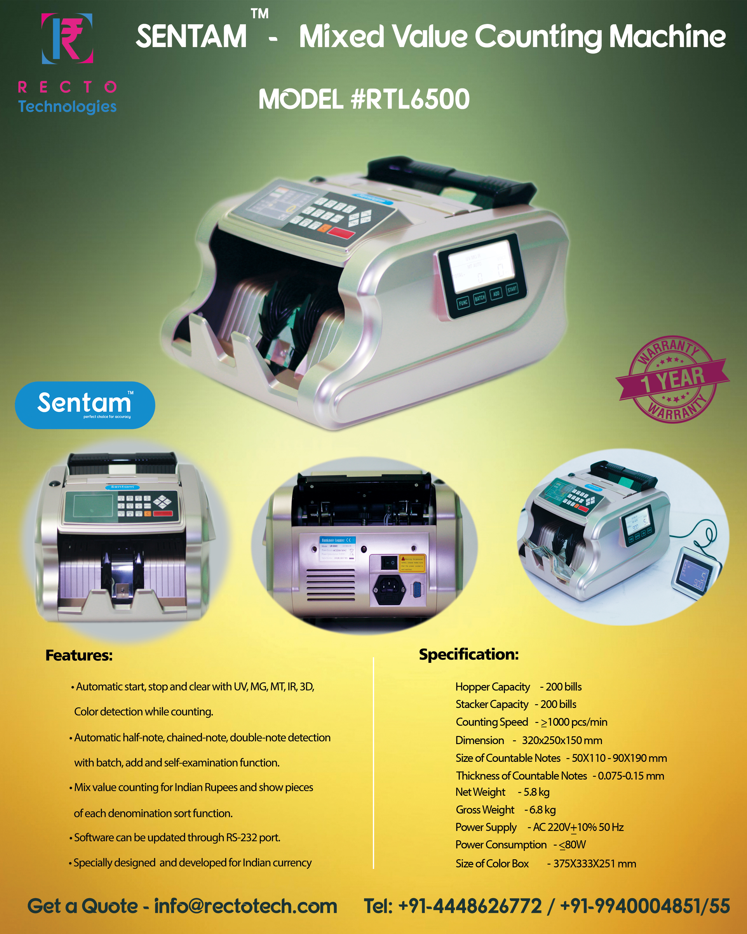 Automatic Half Note Cash Counting Machine