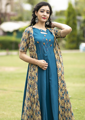 designer rayon kurti with cotton shrug