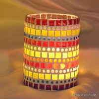 Two Color Mosaic Candle Votive