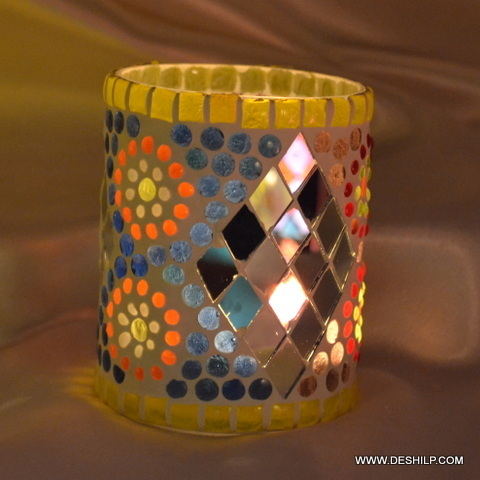 Multi Mosaic Glass Votive