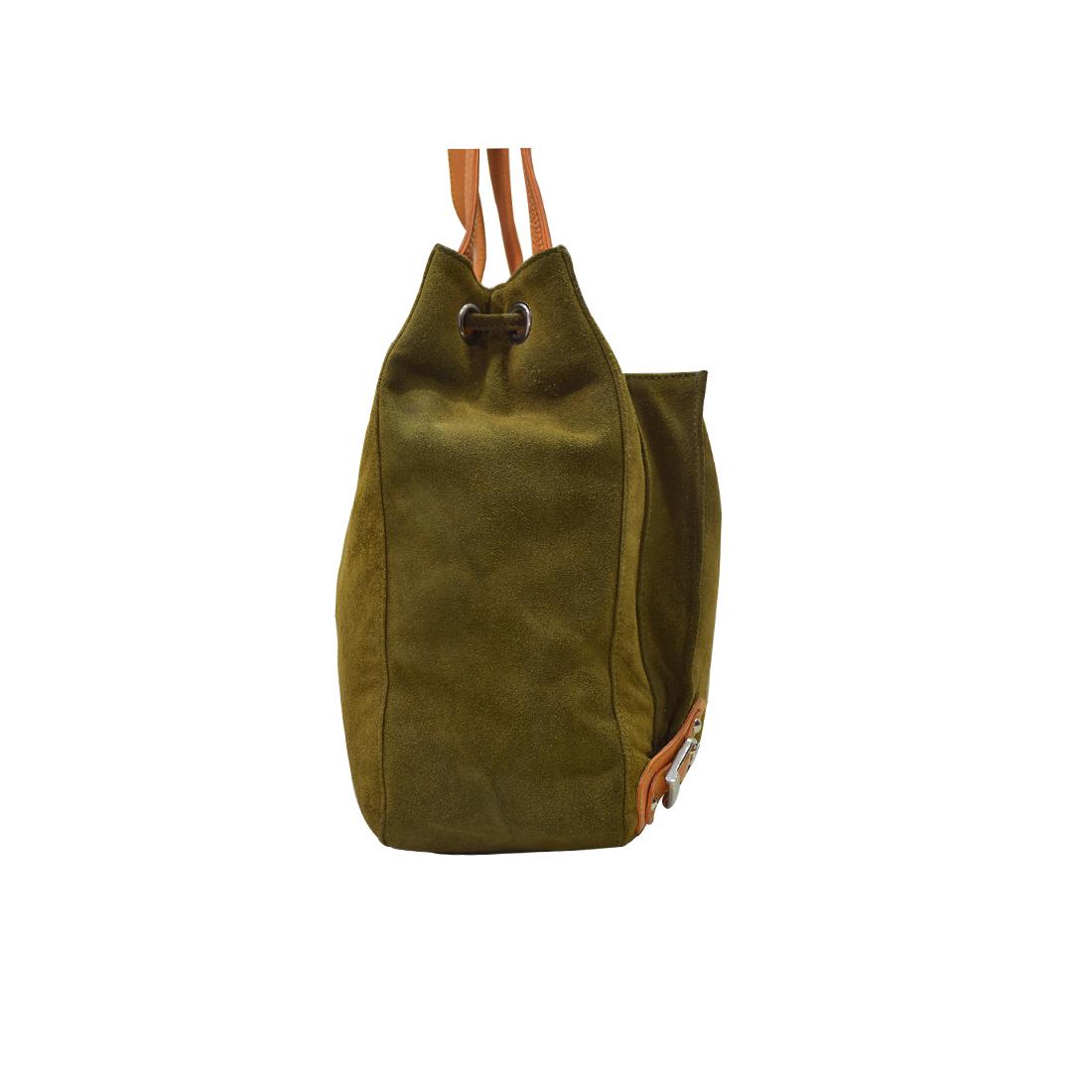 Leather Drawstring Shoulder Bag