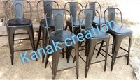 Vintage Antique High Bar Chair Iron Metal Bar Stool Tolix with Back