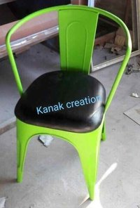 Tolix chair with leather seat top.