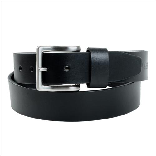 Coated Black Leather Belt