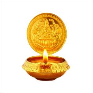 Small Gajalakshmi Brass Diya