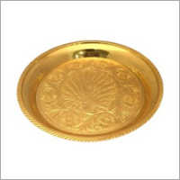 6.5 Inch Peacock Brass Pooja Plate