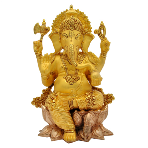 12 Inch Ganesha And Lotus Base Idol