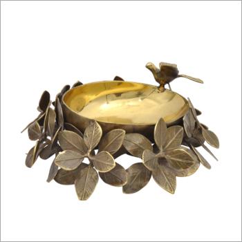 Brass Leaf Bird Bowl
