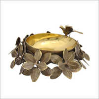 Brass Leaf Bird Bowl