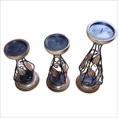 Wooden & Iron Candle Stand Set