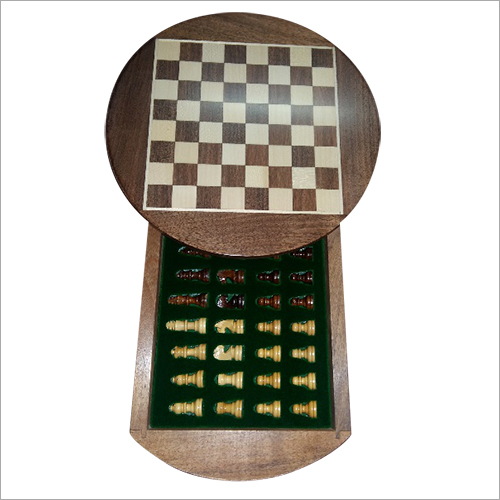 Sheesam Wood Round Magnetic Chess