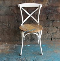 CROSS BACK SIDE CHAIR (white)
