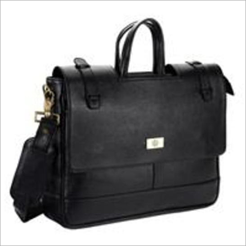 Black Leather Executive Laptop Bag