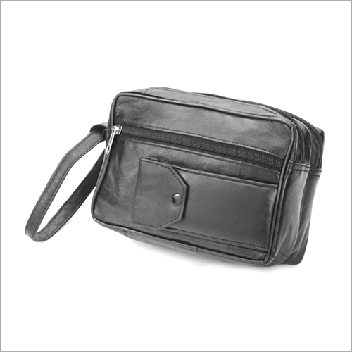 Leather Double Zip Office Pouch Bag