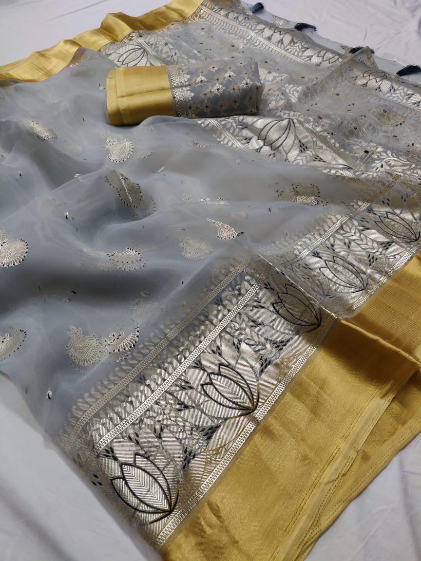 Zari Border Batik Print Orgenza Sarees