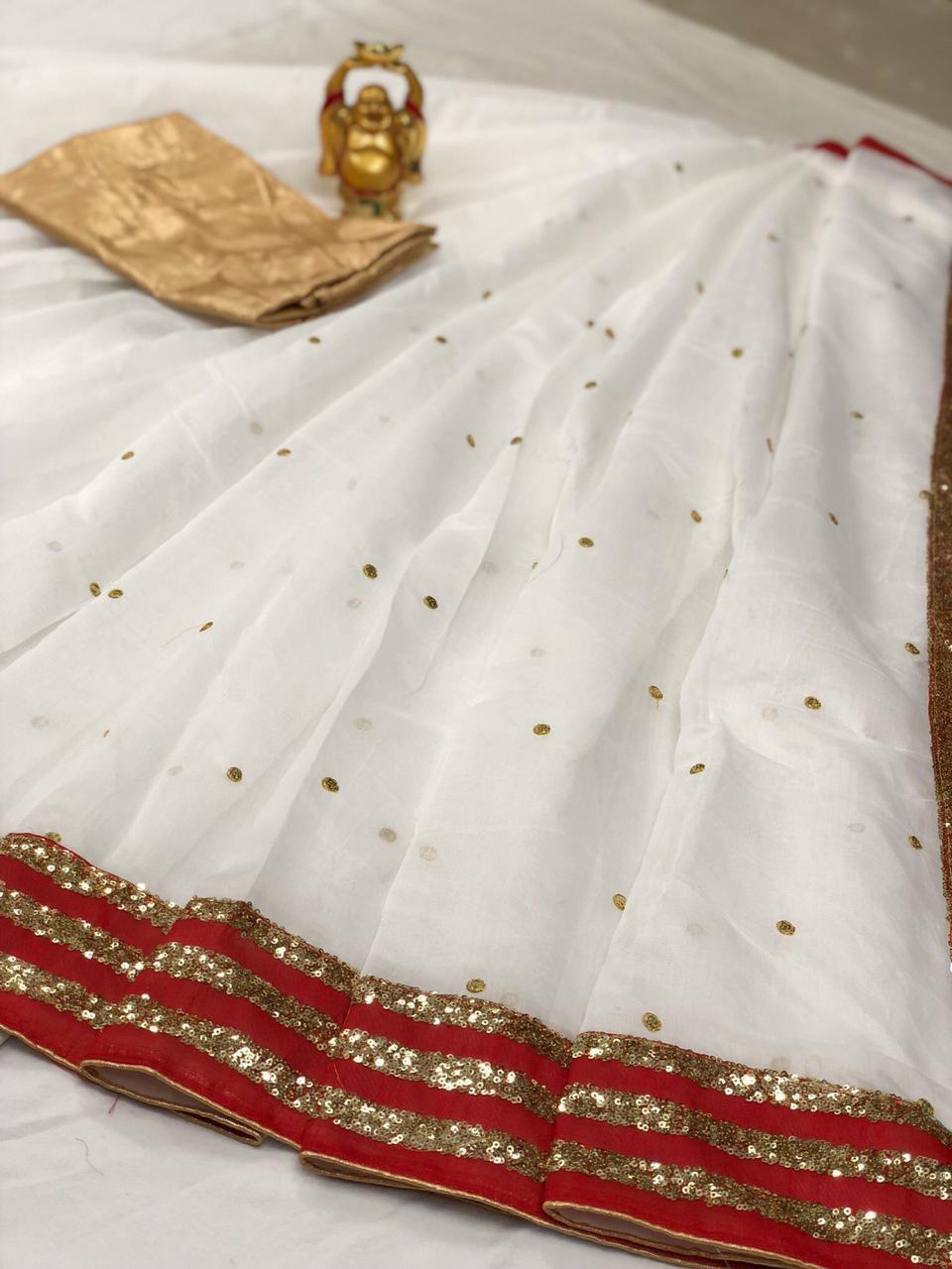 Pure Kora Chandari Paitani Saree