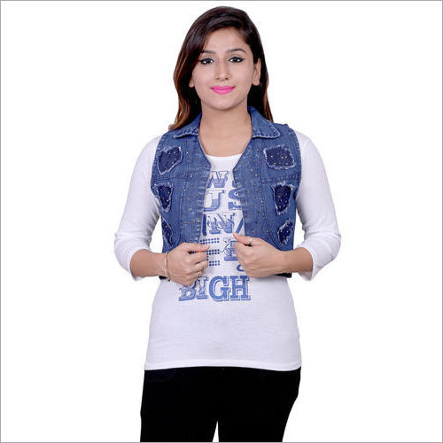 Ladies Blue Denim Top