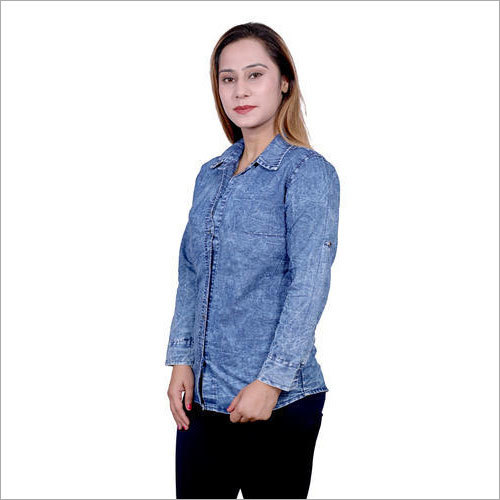 Ladies Blue Denim Shirt