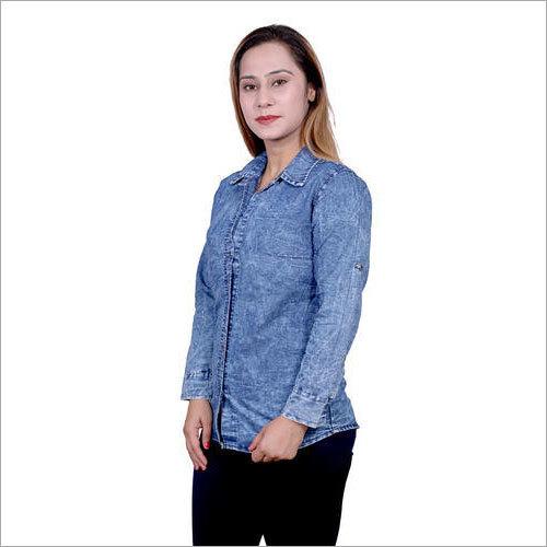 Ladies Blue Denim Shirt