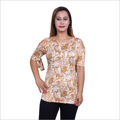 Ladies Printed Cold Shoulder Top